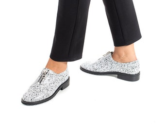 Final Sale 30% Off - Leather Oxford Shoes, Slip-ons, Leather Flats, Slides, Flat Loafers , Women Oxfords, Zipper Shoes, Slip on Shoes, Lea