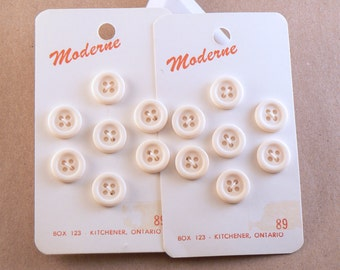 12 - 12 mm White Plastic Buttons - Ivory Buttons - 12 mm Sewing  Buttons - Small Buttons - Button Card #WF-30-29