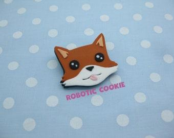 Fox Brooch Pin polymer clay