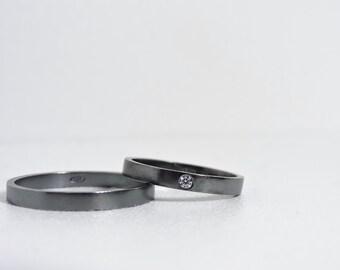 Black Sterling Silver Wedding Band // Black wedding band // Wedding / Mens Ring / Minimal Ring / Cubic Zirconia / Affordable Wedding Band