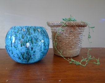Vintage Ceramic Blue Splatter/ Speckled Planter Pot- Hanging