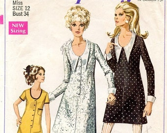 1960s A-line Dress Pattern / Mini or Knee Length / Round Neckline Contrast Collar & Cuffs / Simplicity 7915 Size 12 Bust 32