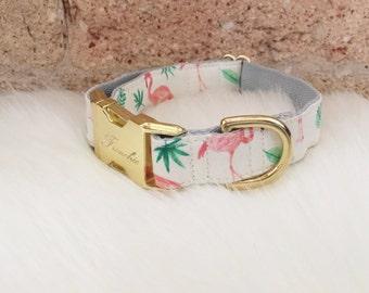 "Adjustable dog collar ""Pink Flamingos"""
