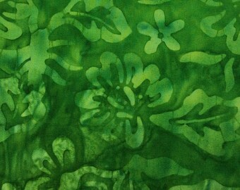 Green Leaf Batik Fabric - Artisan Indonesian from Majestic Batiks - SPD 324 Green, Priced by the 1/2 yard