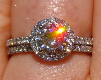 Moissanite Wedding Set, Diamond Engagement Ring and Wedding Band, White Gold Diamond Halo Engagement Ring