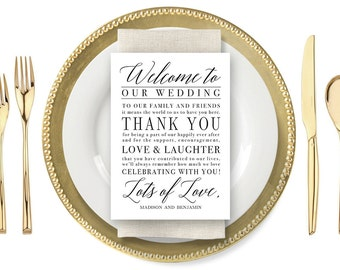 Personalized Wedding Welcome Cards - Printable, Instant Download MODERN SCRIPT #MSC