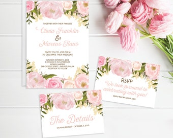 Wedding Invitation Set - Wedding Invite - RSVP Card - Wedding Details Card - Pink Floral - Wedding Invitation - Printable Wedding Set