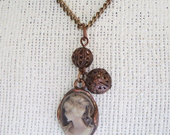 Antique Brass Color Victorian Inspired Silhouette Necklace