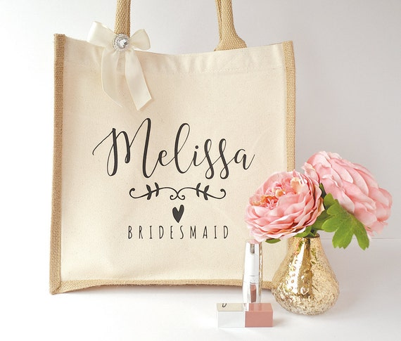 Modern calligraphy large bridesmaid jute gift bag