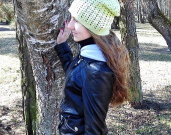 Green slouchy beanie for women, surf beanie, sun hat, sports hat, vegan hat