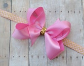 Pink and gold 1st birthday headband, gold and pink first birthday headband, pink satin and gold 1st birthday headband