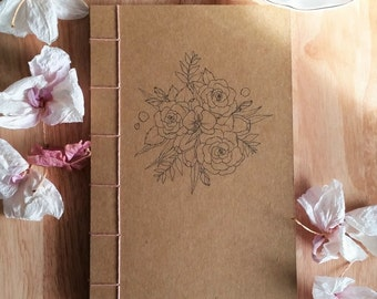 Floral Lined Notebook/Journal/Planner; Eco-friendly, Coptic Bound