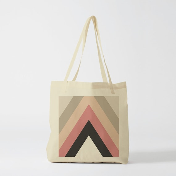 Tote bag Pink Vintage Triangles. Canvas bag, groceries bag, school bag, student bag, shopper, laptop bag, retro, vintage pattern.