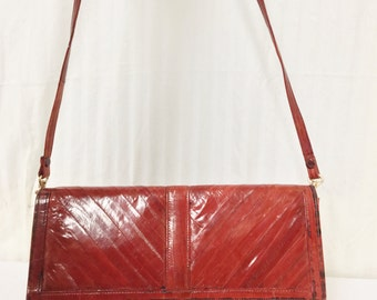Red Snake Skin purse,Leather ,Purse ,Shoulder Bag ,Convertible To Clutch
