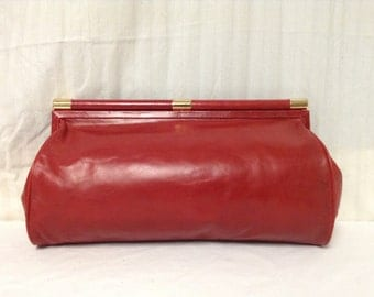Free Ship Red Leather Clutch Purse