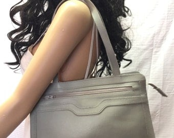 Free Ship, Tote Bag, Gray, Leather, Shoulder Bag, Bags Purses