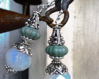 Sri Lanka Moon Stone Gothic, Rustic Style Handmade Earrings