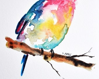 ORIGINAL Watercolor Painting  Colorful Hummingbird Painting, Yellow, Pink, Turquiose 5x8 inch