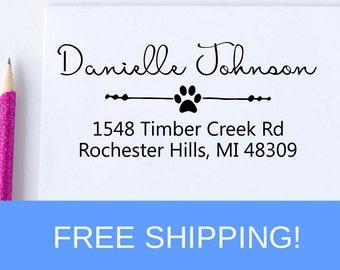 Paw Print Return Address Stamp - Self Inking Address Stamp - Personalized Address Stamp   (D115)