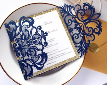 Navy and Gold Wedding Invitation, Gold and Navy Wedding Invite, Navy Wedding Invites, Navy Blue Wedding Invitations, CW3109