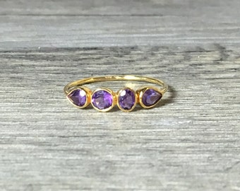 Amethyst 14K Rose Gold Ring - February Birthstone, Ready to Ship, Size 7, slim band, Petite ring
