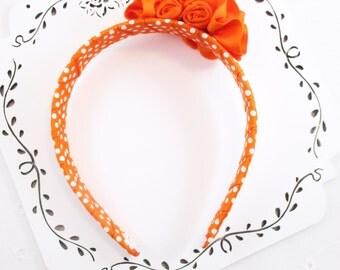 Orange Flower Headband, Pollka Dot Headband, Rose Headband, Orange Ribbon Flower Headband, Grosgrain Ribbon Headband, Orange Woven Headband