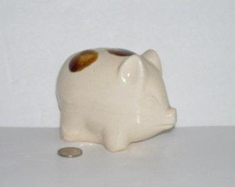 Vintage Small Spongeware Pottery Pig Piggy Bank
