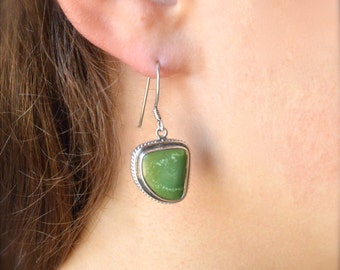 Free Form Green Turquoise Earrings