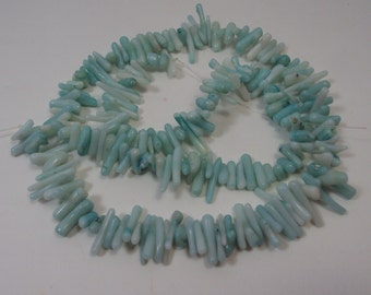 """Mint Green Coral Beads 17"""" strand"""