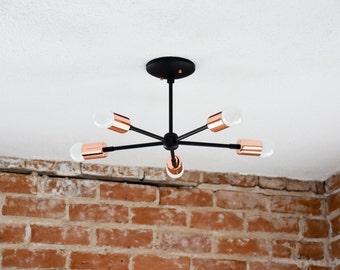 Matte Black and Copper Two Tone Modern Chandelier Five 5 Arm Pinwheel Sputnik Mid Century Semi Flush Industrial UL Listed