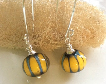 Yellow and Blue Glass Earrings / Lampwork Glass Earrings / Glass Dangle Earrings / Sterling Silver Earrings