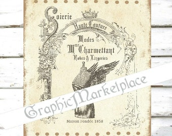 Dressform Fashion Mode Haute Couture Sewing Lingerie Corset Download Transfer Burlap digital graphic printable No. 285