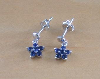 925 Silver Blue Cz Daisy Earrings/Small Silver Daisy Stud Earrings/Blue Cz Earrings/Blue Cz Jewelry/Blue Cz Jewellery/Cz Flower Earrings