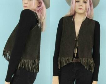 60s Leather Fringe Vest