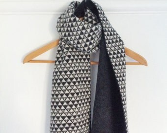 Lambswool scarf, ladies knitted geometric scarf, knitted lambswool scarf, geometric pattern scarf
