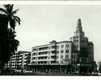 Bombay, Mumbai, Eros Theater Cinema, Real Photo, 1953, Vintage Postcard