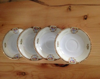 Demitasse Saucers Made in Occupied Japan.  Set of 4.