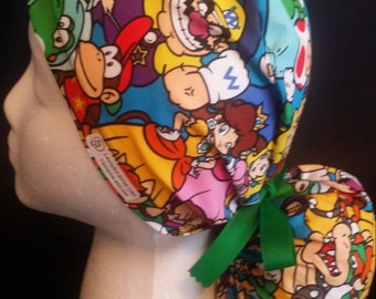 Nintendo Super Mario Brothers Packed Character Ponytail Tie Back Surgical Scrub Hat