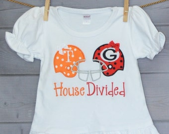 Personalized House Divided Football Team Applique Shirt or Onesie Choose Your Teams & Colors