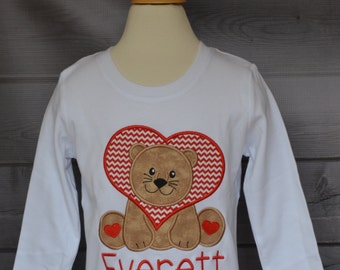 Personalized Valentine's Day Lion Applique Shirt or Onesie Girl or Boy