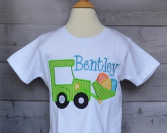 Personalized Easter Egg Tractor Applique Shirt or Onesie Girl or Boy