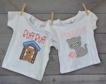 Personalized Ruff Ruff Puppy Dog or Purrfect Kitty Cat Applique Shirt or Onesie Boy or Girl