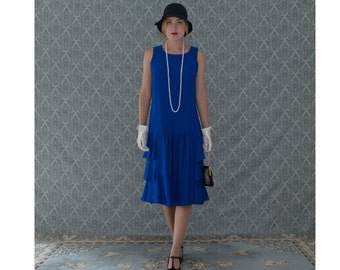 1920s Great Gatsby dress in sapphire blue with tiered skirt, blue flapper dress, Downton Abbey dress, Roaring 20s costume, robe Charleston