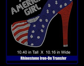 Rhinestone Bling Iron-on T-shirt Transfer - All American Girl - Shoes - Patriotic - Bling  Rhinestone T shirt - Bling DIY high heel applique