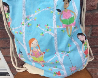 Sports bag, cotton gym bag, drawstring backpack style bag, blue PE bag, Personalized PE bag, gym bag Michael Miller cotton fabric
