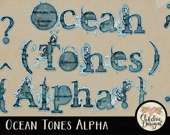 Watercolor Alpha - Digital Scrapbook Alphabet ClipArt - Ocean Tones - Digital Alphabet - Digital Alpha, Digital Letters, Watercolor Alphabet