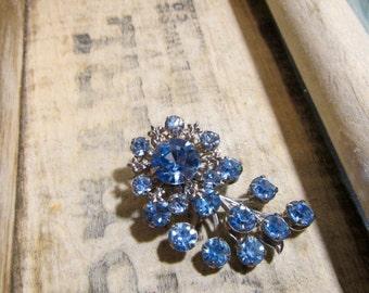 Vintage Brooch, Sea Blue Crystal Brooch, Fleur De Lis Blue Crystal Brooch