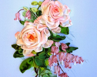 picture , silk ribbon embroidery roses