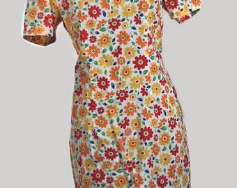 1970's Cotton Shift. Vintage SunFlowers Cotton Dress Size XL