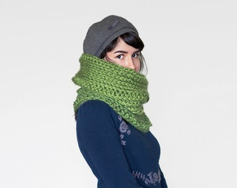 Chunky Circle Scarf Cowl - Crochet Neck Warmer in Avocado | The Betelgeuse Cowl |